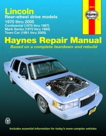 Lincoln Rear Wheel Drive Haynes Repair Manual on Ignition Wiring For 1992 Lincoln Town Car