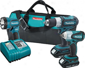 Makita 18v Lxt Lithium-ion 3-pc. Combo Kit With 3/8'' Impact Wrench And 1/2'' Driver-drill