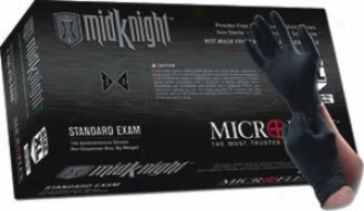 Microflex Midknight Black Nitrile Gloves-medium - 100 Per Box