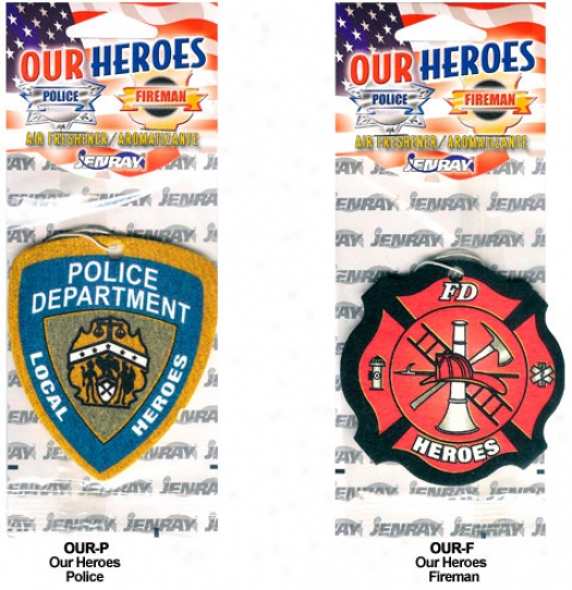 Our Heroes Air Fresheners - Police & Firr Dept. (3 Pack)