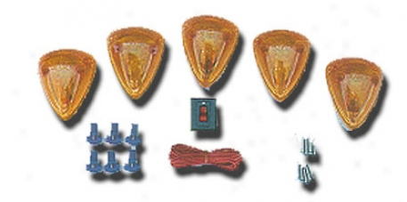 Pacer Dodge Style Amber Five Cab Roof Runninng Lights Kit (1994-1998)