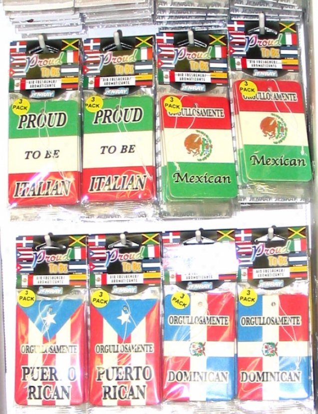 Proud To Be Dominican/italian/mexican/puerto Rican Air Fresheners 3( Pack)