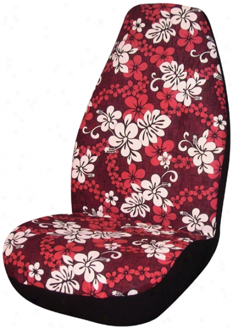 Red Hawaiian Print Universal Bucket Seat Cover (pair)