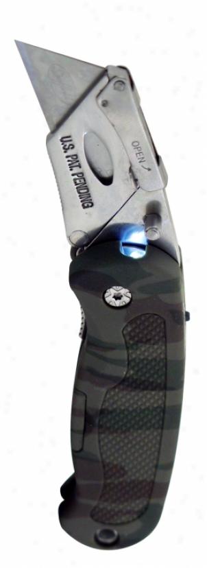 Sheffield Camouflage Led Lighted Lockback Utility Knife