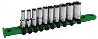 Sk Tool 10 Piece 1/4''-Drive 6 Point Semi-deep Fractional Socket Set