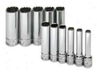 Sk Tool 11 Piece 1/4'' Drive 12 Point Deep Metric Socket Set