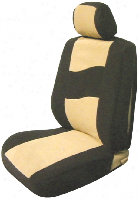 Tan Low Back Side Air Bag Bucket Seat Cover (pair)