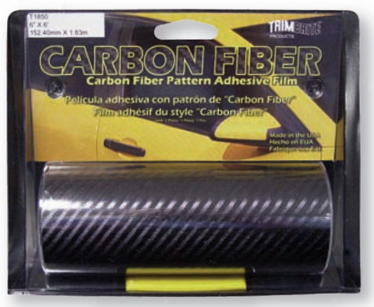 Trimbrite 6'' X 6' Black Carbon Fiber Adhesive Film