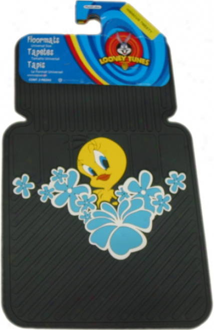 Tweety Fowl Blue Hibiscus Flowers Floor Mat (Yoke)