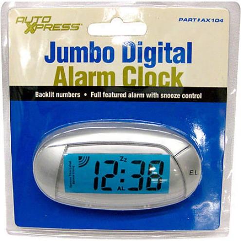 Autoxpress Jumbo Led Clock W/alarm - 22-1-37007-8a/a