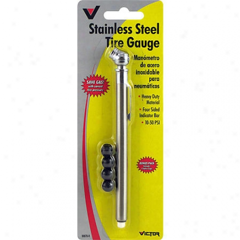 Victor Stainless Steel Tire Gauge W/ Valve Caps - 00876-8