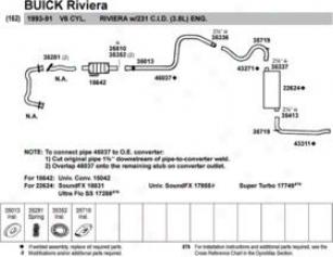 1991-1993 Buick Riviera Muffler Walker Buick Muffler 17855 91 92 93