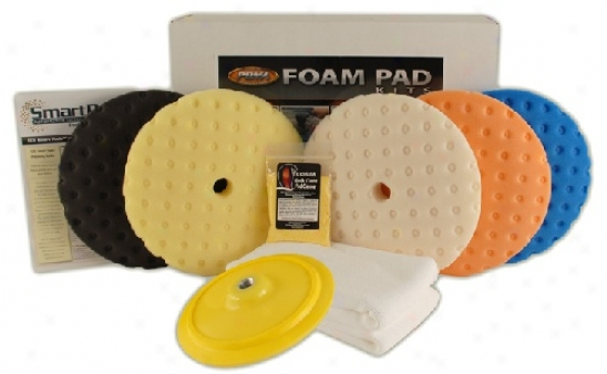 "Advanced Curved Edge 8.5 Inch Foam Pad Kit By the side of 7"" Rotary Plate"