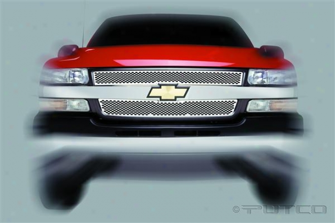 01-02 Chevrolet Silverado 1500 Putco Racer Stainless Steel Grilles