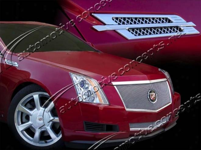08-10 Cadillac Cts E&g Classics Cts Cnc Machined Mesh Fender Vent Set