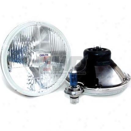 7? Round Quad Bar Headlight Kit, Halogen H4 By Delta