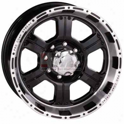 Series 8089 Black Powder Coat With Machined Accents 6-spoke Wheel By Pro Comp