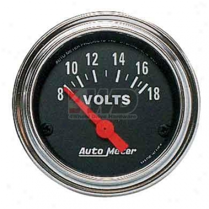 Traditional Chrome Succession Voltmeter By Auto Meter