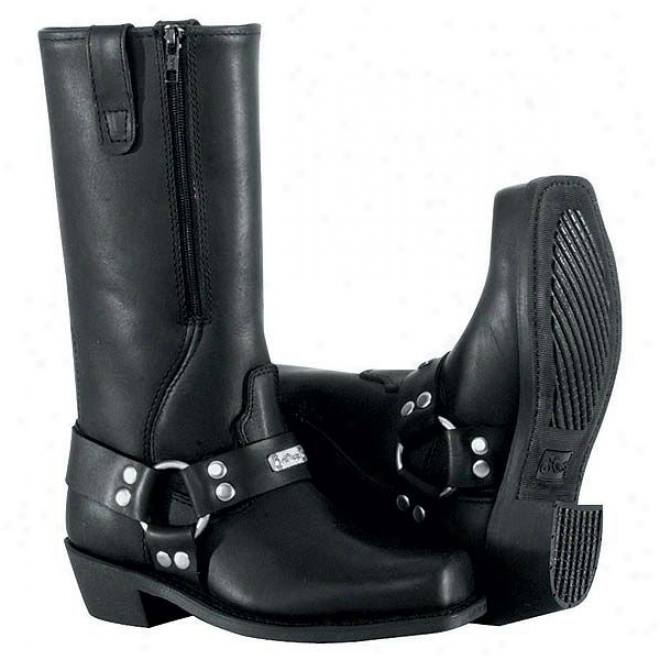 Womens Square Toe Zipper Harness Boots